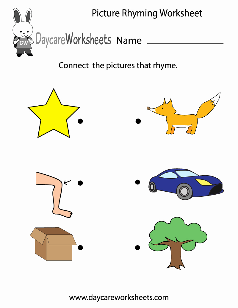 Rhyming Worksheets for Preschoolers Awesome Free Preschool Picture Rhyming Worksheet