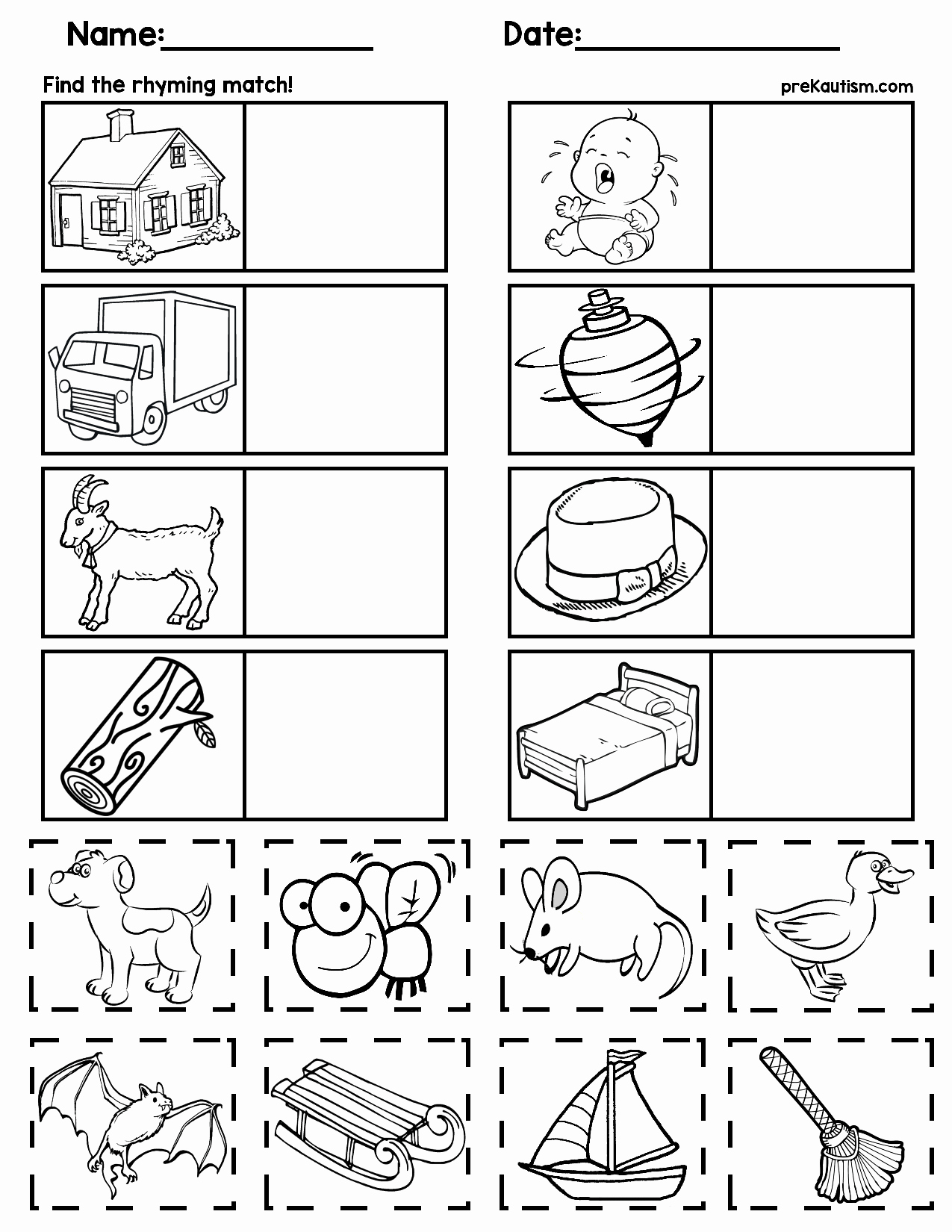 Rhyming Worksheets for Preschoolers Awesome Matching Rhyming Words