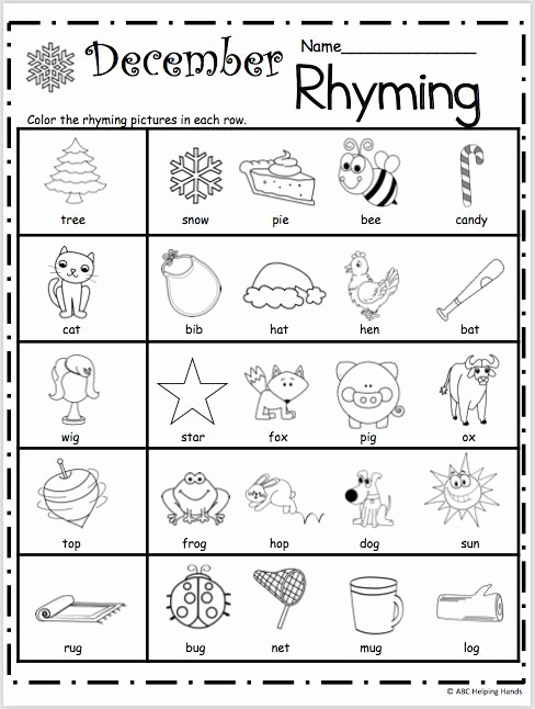 Rhyming Worksheets for Preschoolers Beautiful Free Kindergarten Rhyming Worksheets for December