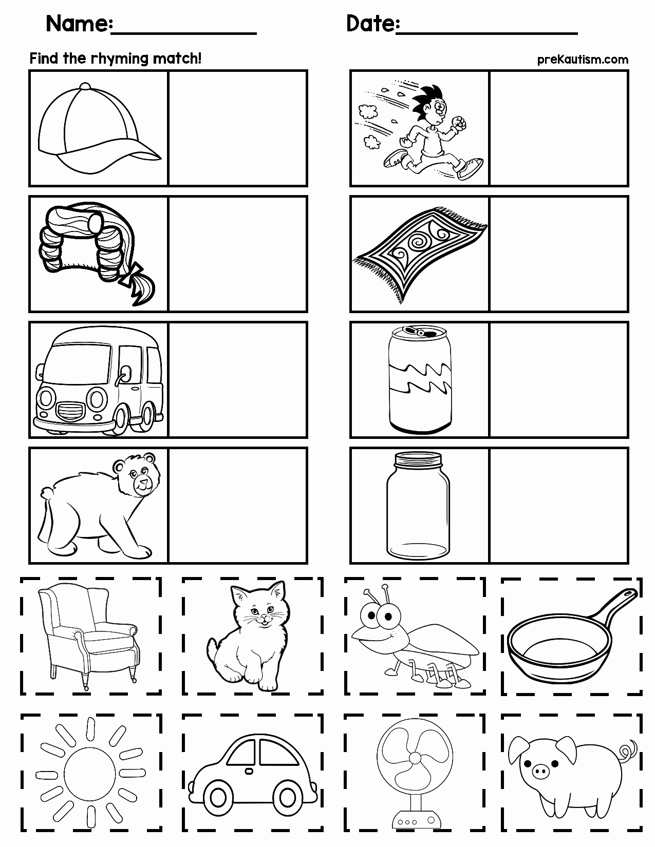 Rhyming Worksheets for Preschoolers Beautiful Matching Rhyming Words
