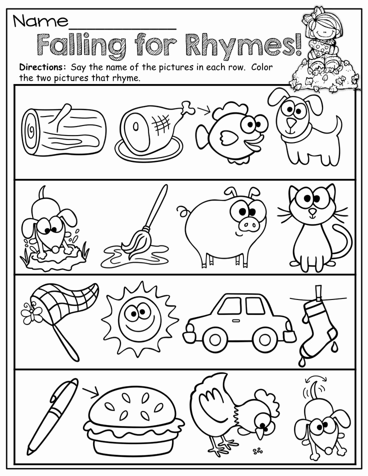 Rhyming Worksheets for Preschoolers Best Of Rhyming Words for Kindergarten Kindergarten
