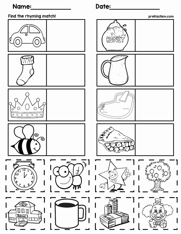 Rhyming Worksheets for Preschoolers Elegant $1 Rhyming Worksheets for Preschoolers