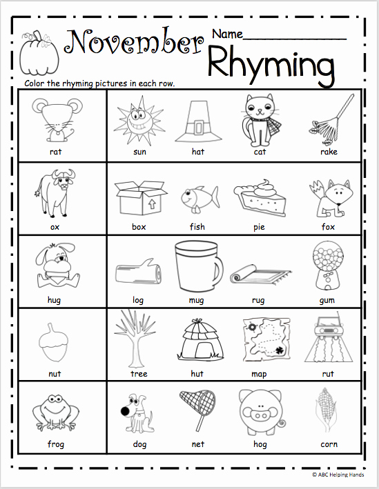 Rhyming Worksheets for Preschoolers Elegant Free November Rhyming Worksheets Madebyteachers