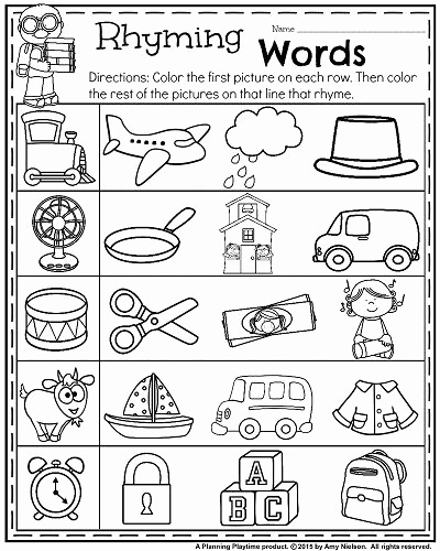 Rhyming Worksheets for Preschoolers Fresh Back to School Kindergarten Worksheets