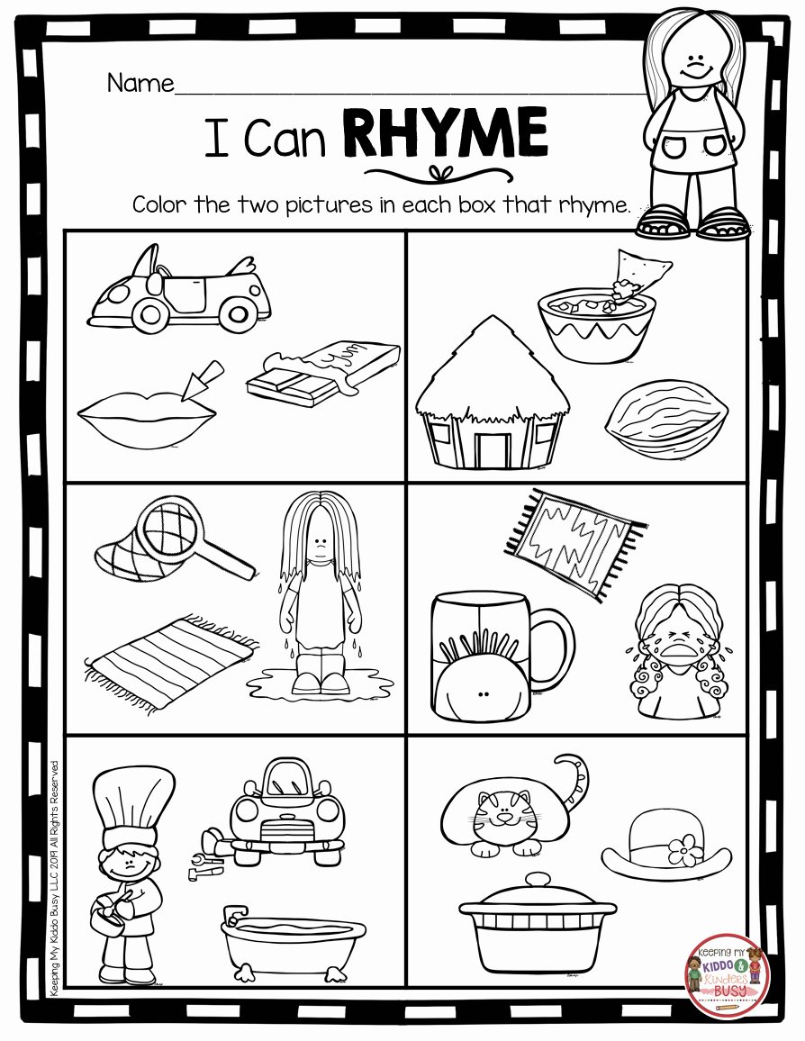Rhyming Worksheets for Preschoolers Fresh Rhyming Worksheets for Kindergarten