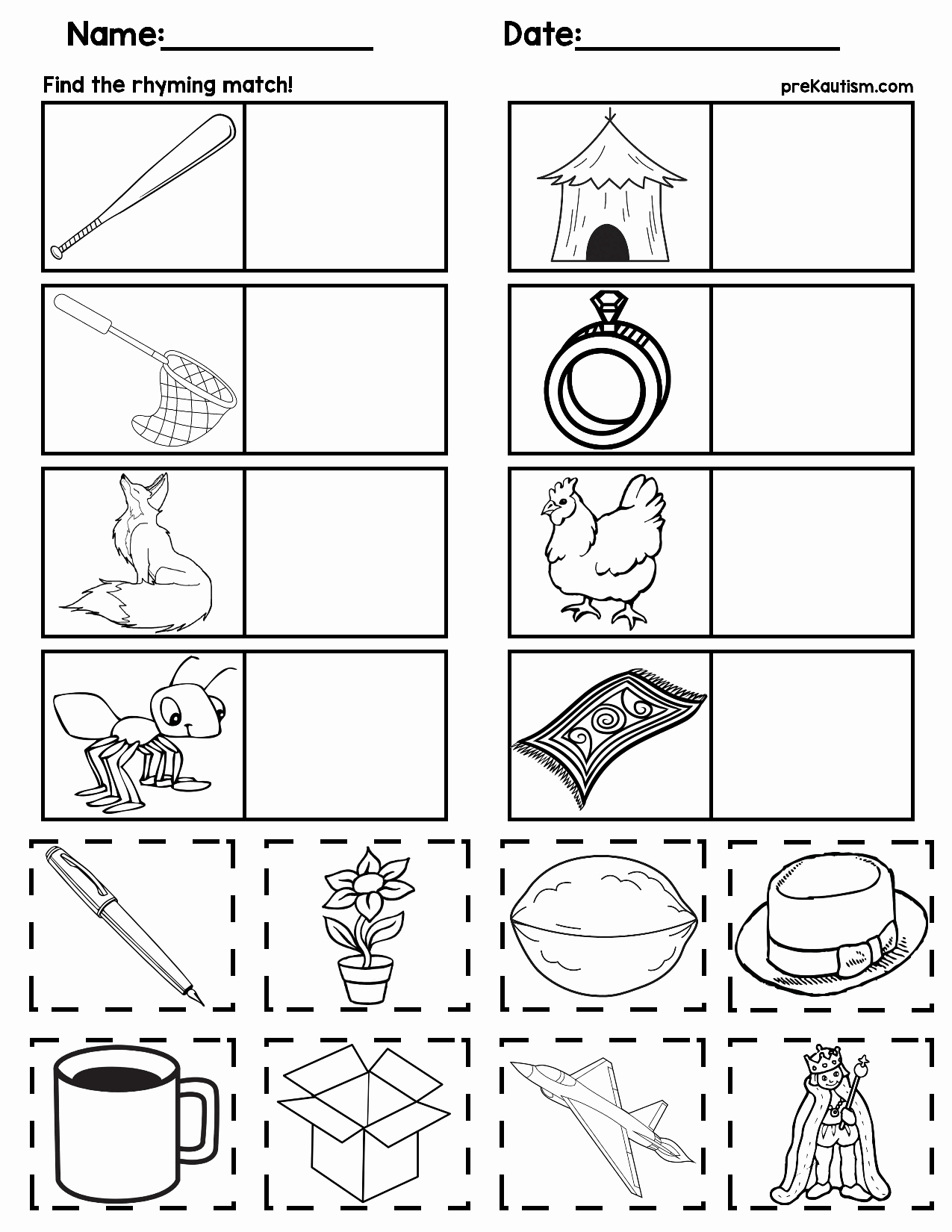 Rhyming Worksheets for Preschoolers Inspirational Matching Rhyming Words