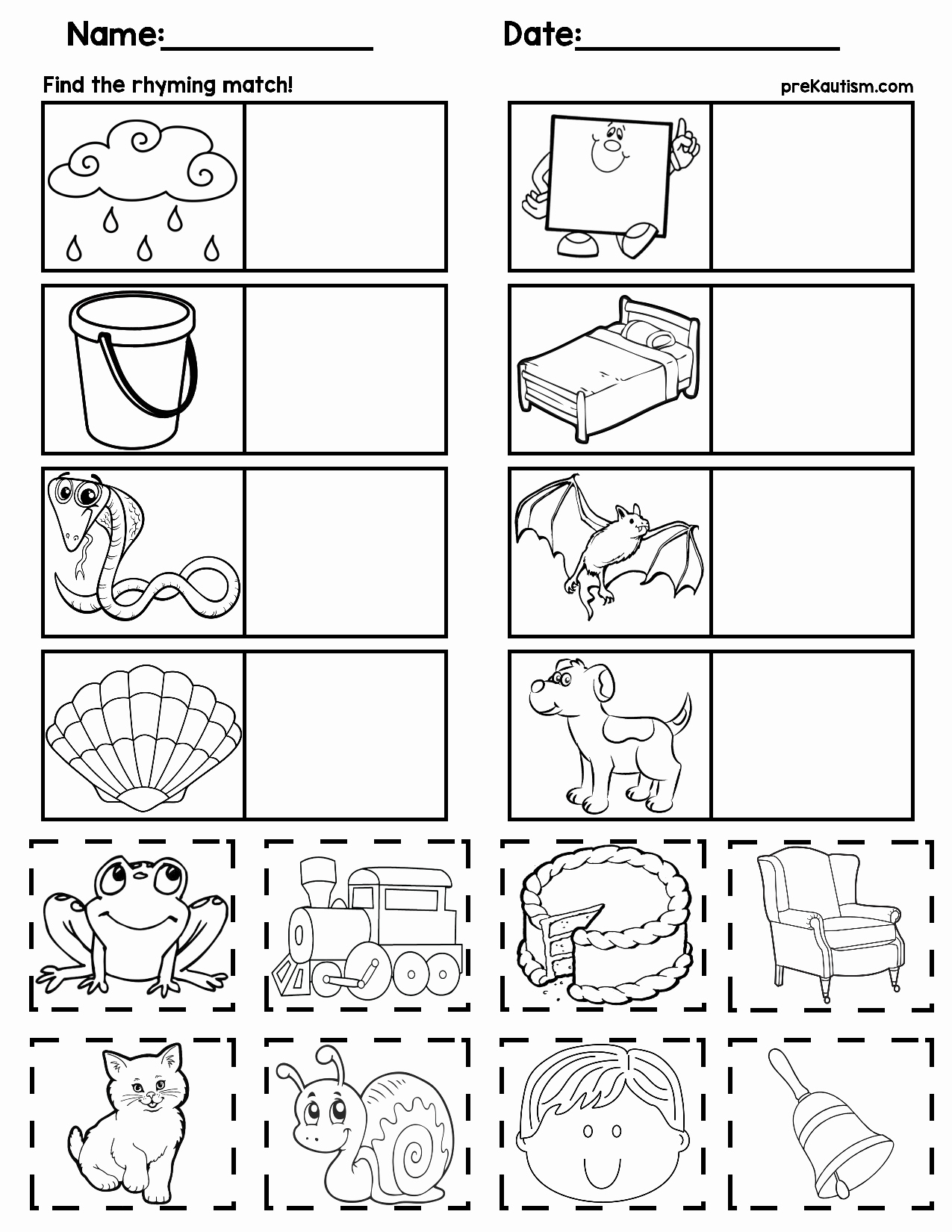 Rhyming Worksheets for Preschoolers Unique Matching Rhyming Words