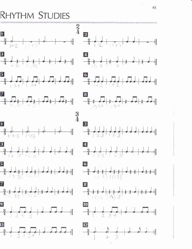Rhythm Worksheets for Band Awesome Rhythm Worksheets