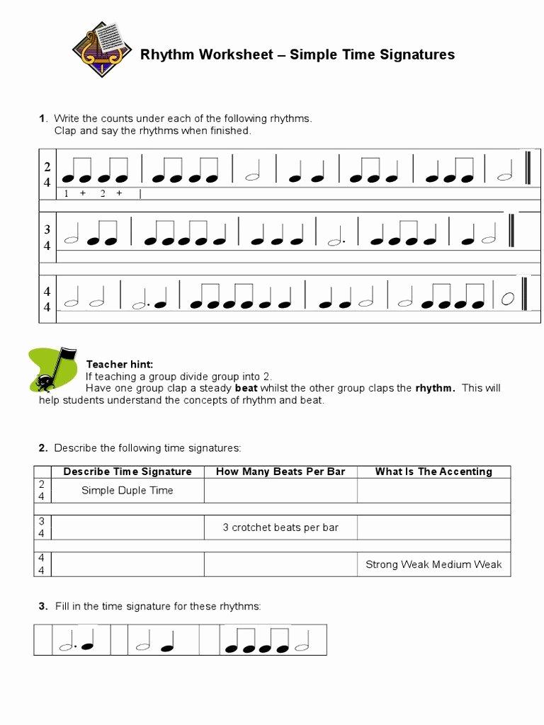 Rhythm Worksheets for Band Beautiful 20 Rhythm Counting Worksheet Pdf