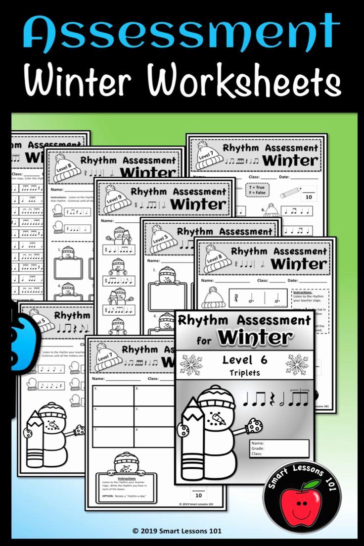 Rhythm Worksheets for Band Beautiful Rhythm assessment Bundle Rhythm Worksheets Winter Music