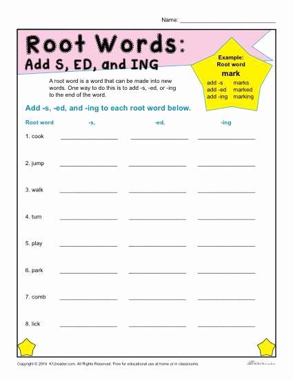 Root Word Worksheets 2nd Grade Best Of Ed Ing S Endings Worksheets Google Search