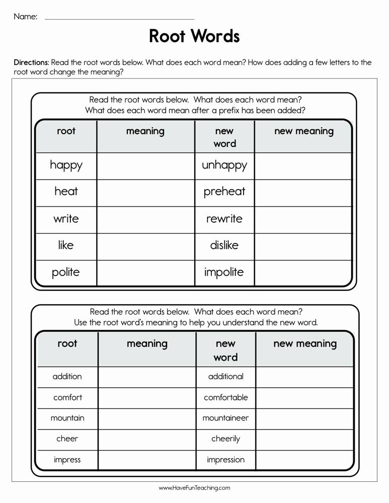 Root Word Worksheets 2nd Grade Elegant Root Words Worksheet • Have Fun Teaching