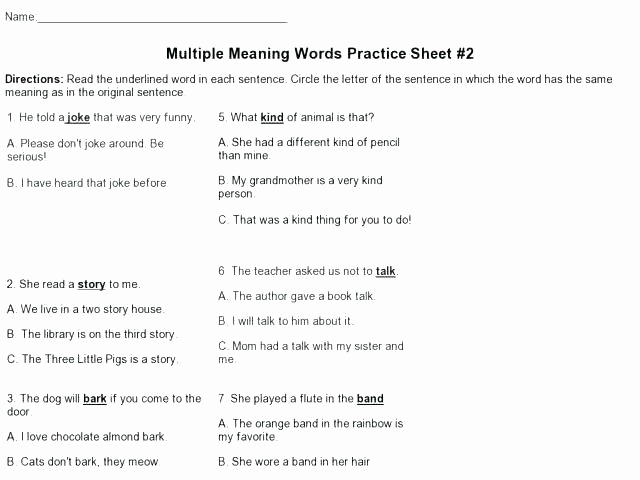 Root Word Worksheets 4th Grade Inspirational Root Words Worksheets 4th Grade Multiple Meaning Words