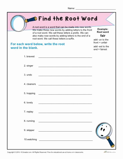 Root Word Worksheets 4th Grade Luxury Find the Root Word Worksheet for 1st Grade