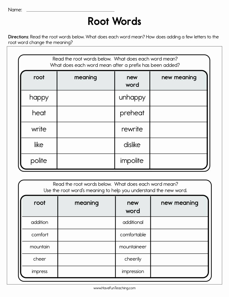Root Word Worksheets 4th Grade Luxury Root Words Worksheet • Have Fun Teaching