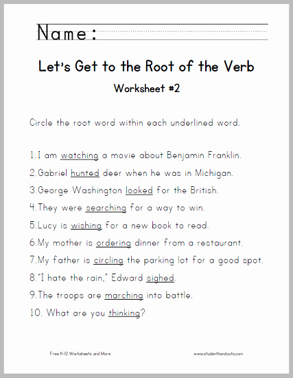Root Words Worksheet 2nd Grade Luxury Let S Get to the Root Of the Verb Worksheet 2