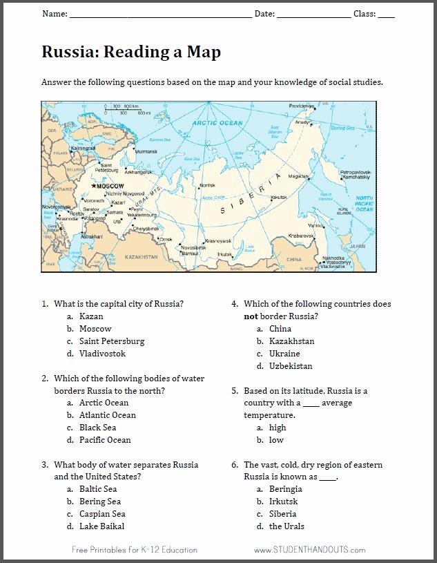 Russian Math Worksheets Luxury Russia Free Printable Map Worksheet