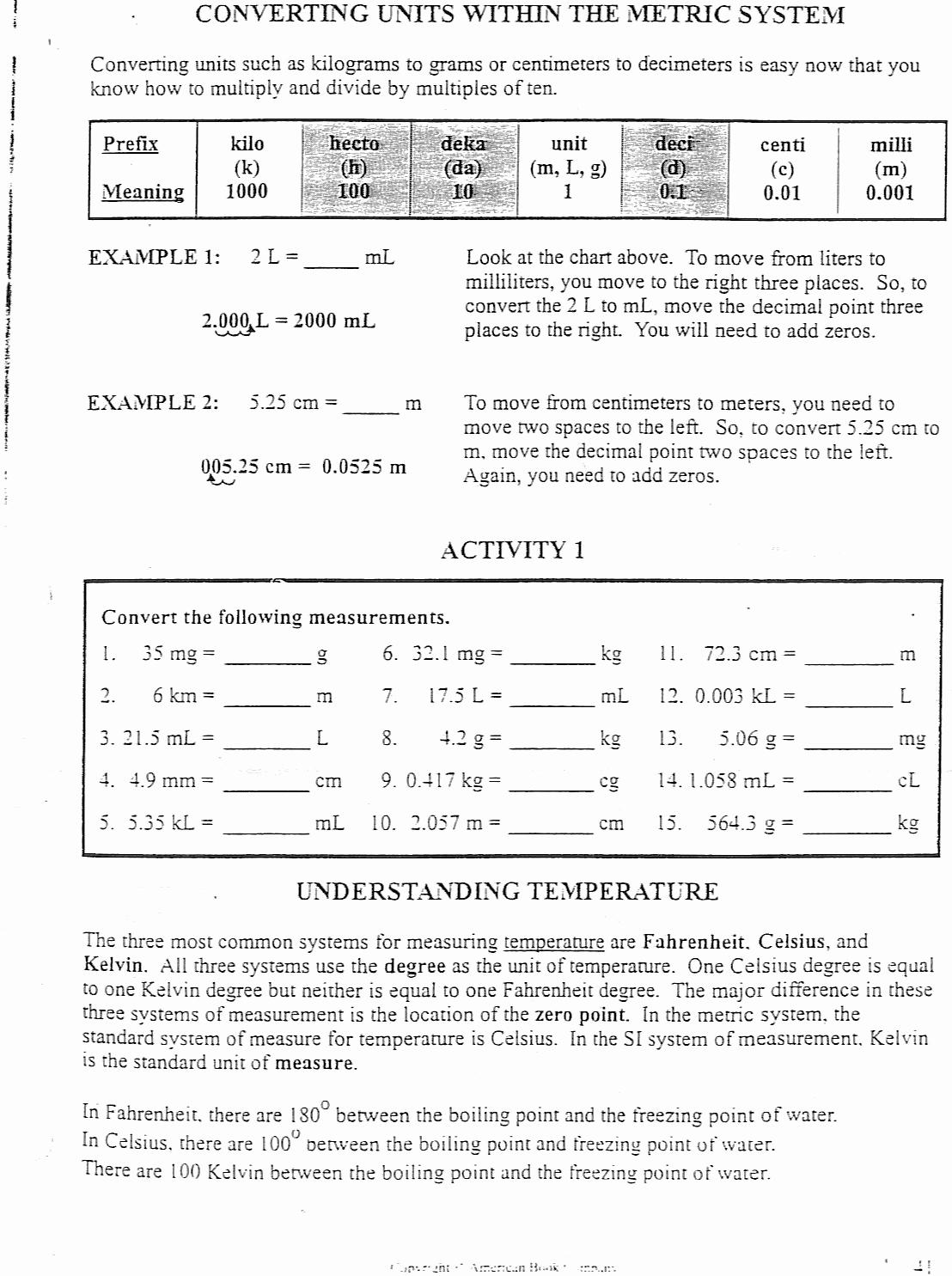 Science Measurement Worksheets Inspirational Science Measuring Worksheets for Middle School Science