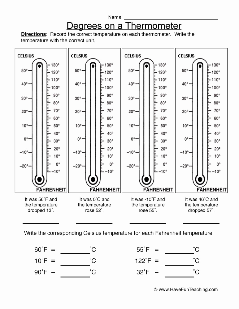 Science Measurement Worksheets Luxury Degrees On A thermometer Worksheet