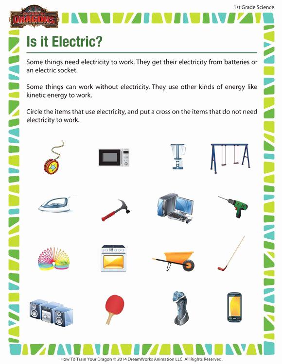 Science Worksheet 1st Grade Luxury is It Electric View – Free 1st Grade Science Worksheets