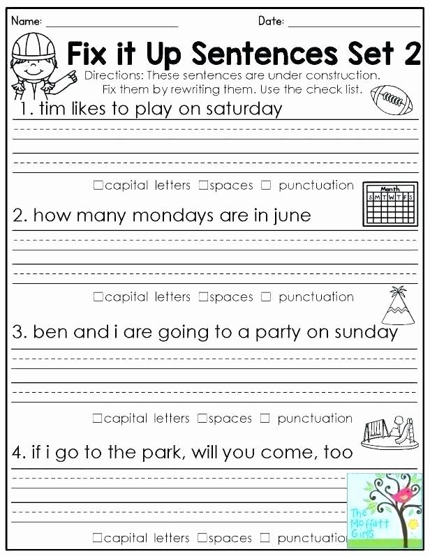 Scrambled Sentences Worksheets 2nd Grade Fresh Mixed Up Sentences Worksheets 1 Sentence 2nd Grade