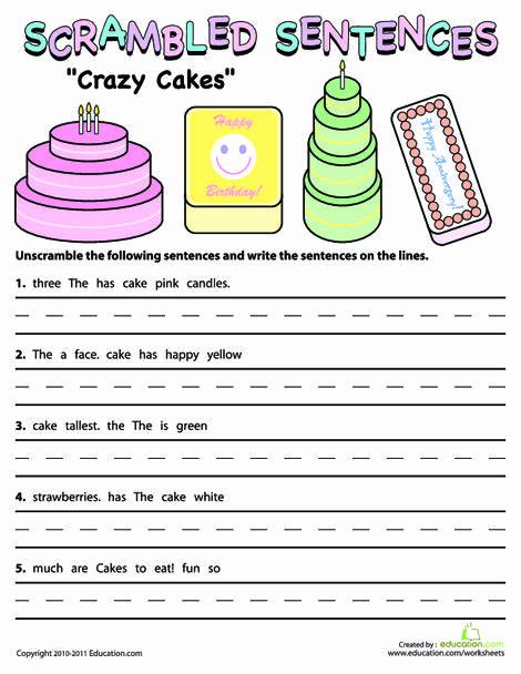 Scrambled Sentences Worksheets 2nd Grade Fresh Scrambled Sentences Crazy Cakes