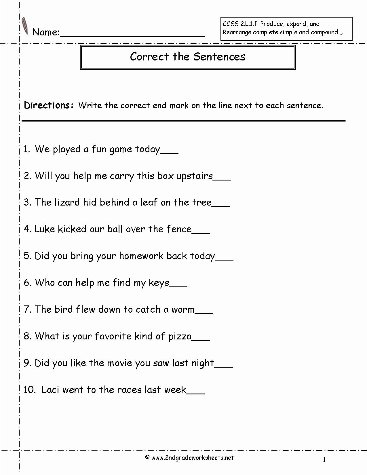 Scrambled Sentences Worksheets 2nd Grade Unique 17 Best Of Sentence Type Worksheets Types Of