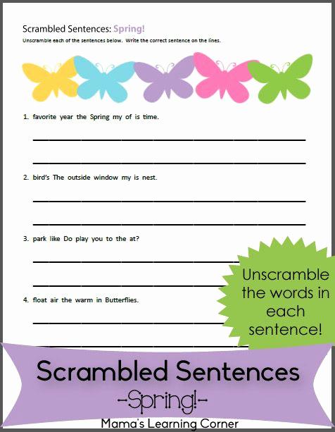 Scrambled Sentences Worksheets 2nd Grade Unique Scrambled Sentences Worksheet for Spring