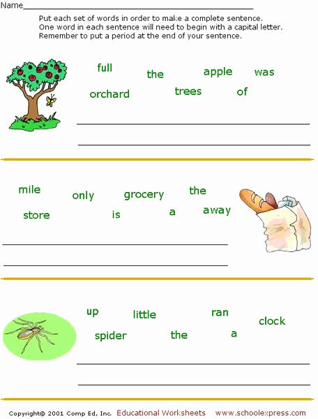 Scrambled Sentences Worksheets 3rd Grade Luxury Sentence Scramble Worksheet for 1st 3rd Grade