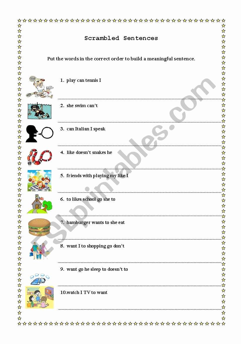 Scrambled Sentences Worksheets 3rd Grade Unique English Worksheets Scrambled Sentences
