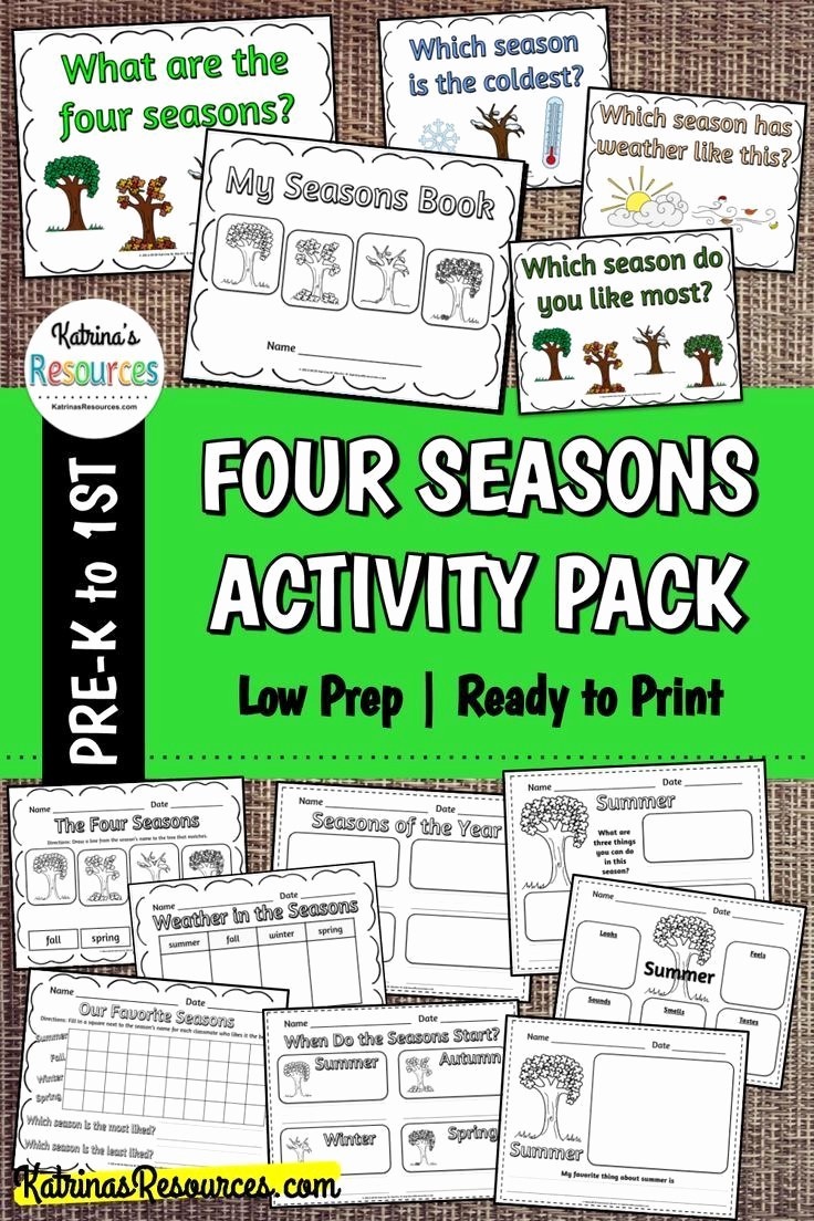 Seasons Worksheets for First Grade Beautiful Four Seasons Ready to Print Super Pack