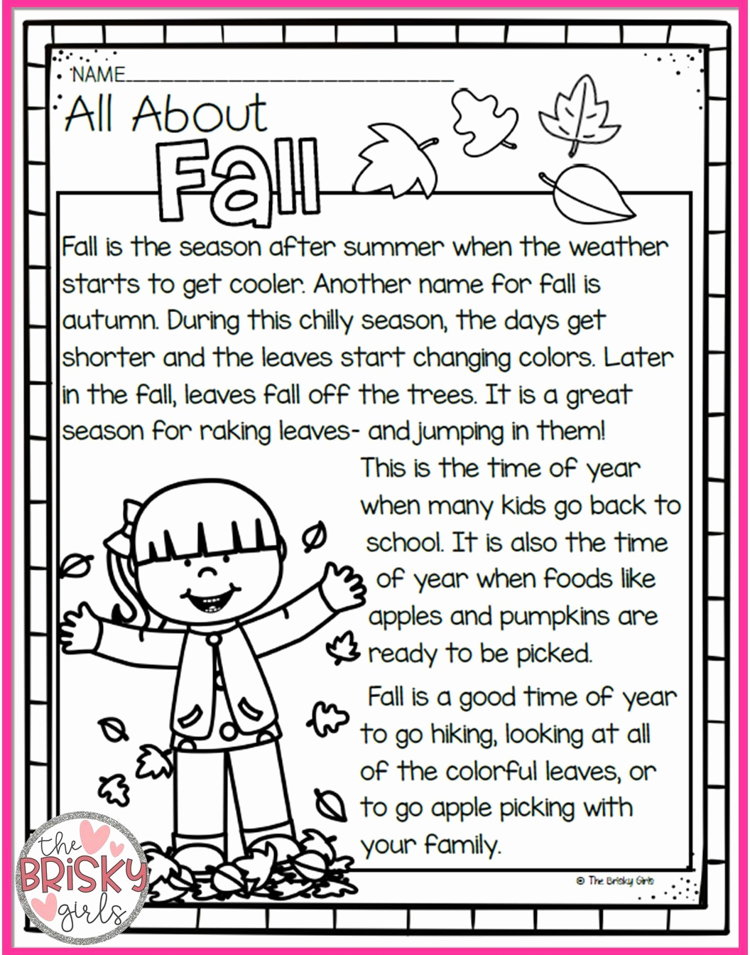 Seasons Worksheets for First Grade Best Of the Four Seasons Reading Passages Take Home Packet