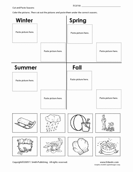 Seasons Worksheets for First Grade Inspirational Cut and Paste Seasons Worksheet for 1st 2nd Grade