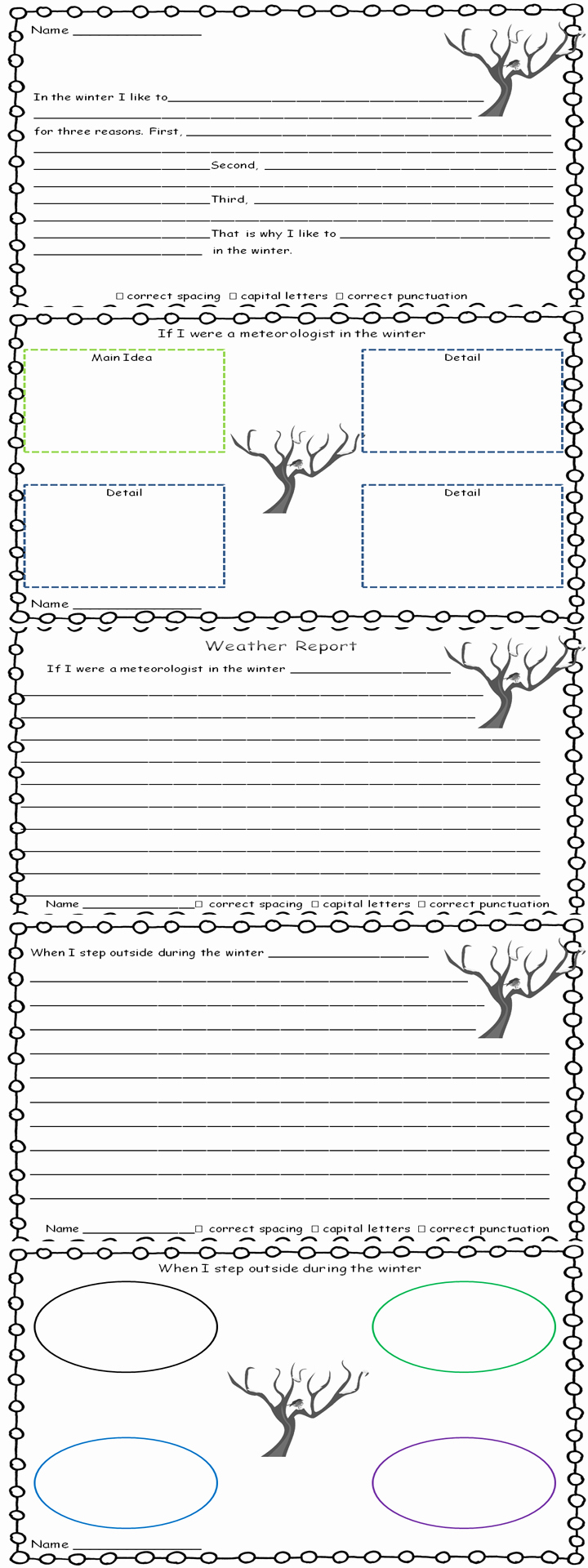 Seasons Worksheets for First Grade Inspirational Writing Through the Seasons