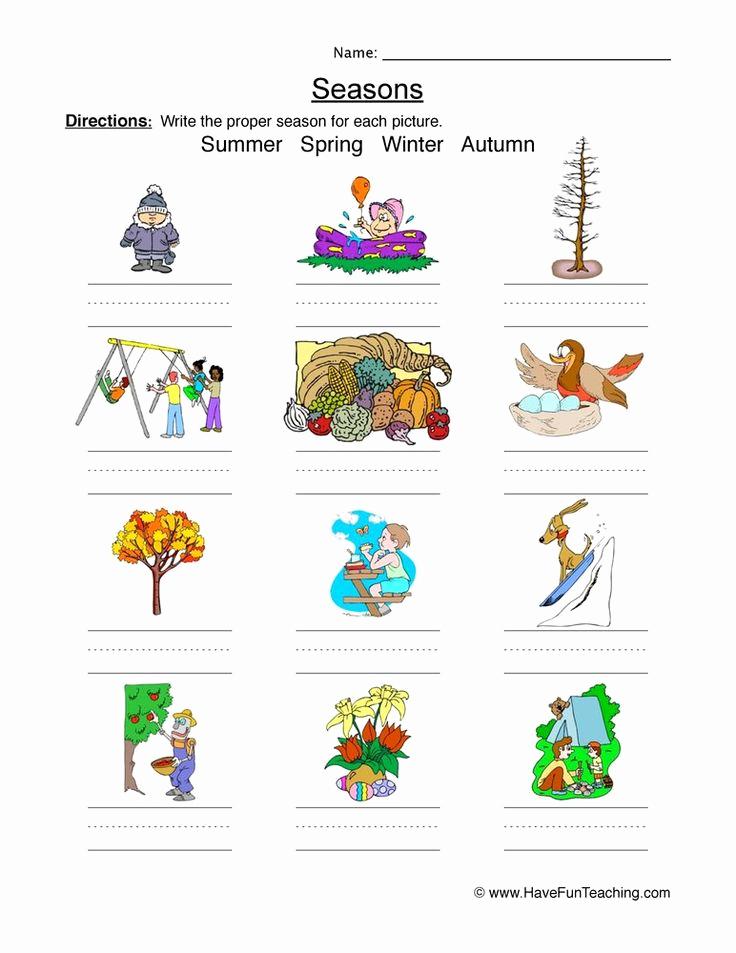 Seasons Worksheets for First Grade Luxury Classifying Seasons Worksheet In 2020