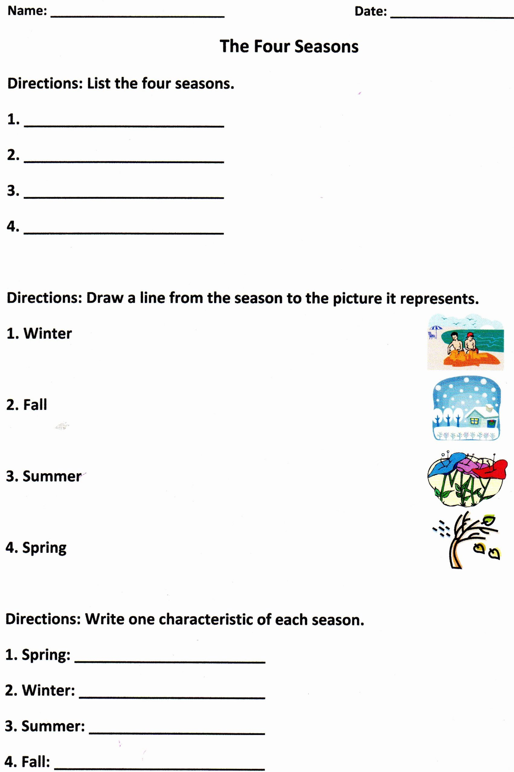Seasons Worksheets for First Grade New the Four Seasons assessment for K 1