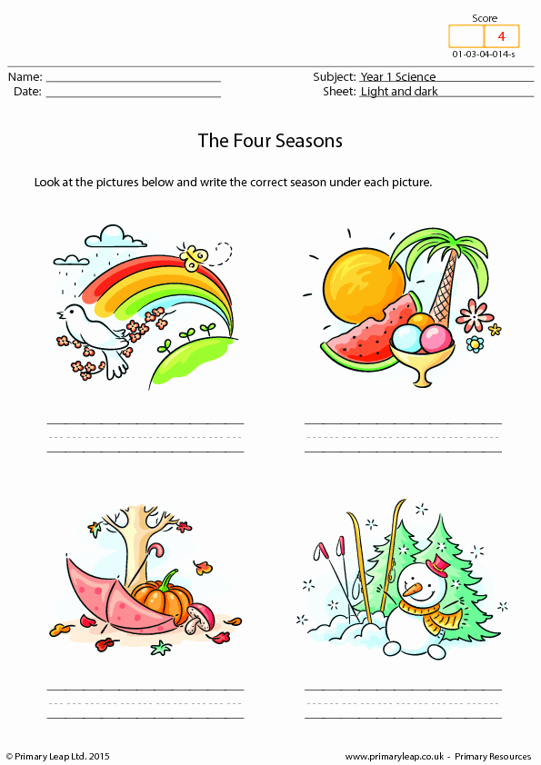 Seasons Worksheets for First Grade New Writing the Four Seasons
