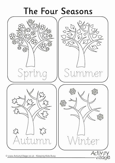 Seasons Worksheets for Preschoolers Awesome Four Seasons Handwriting Worksheet