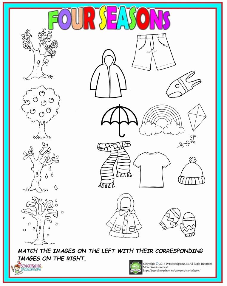 Seasons Worksheets for Preschoolers Beautiful Four Season Worksheet for Kids
