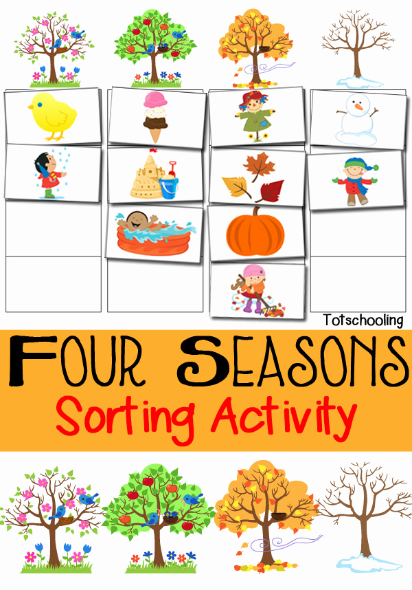 Seasons Worksheets for Preschoolers Beautiful Four Seasons sorting Activity Free Printable