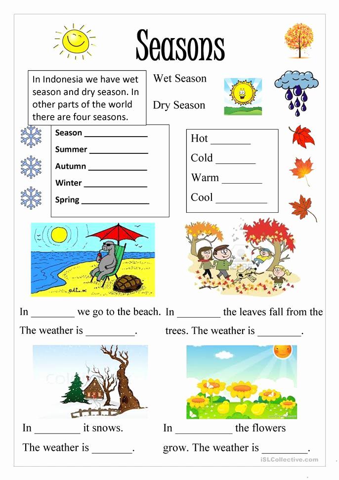 Seasons Worksheets for Preschoolers Best Of Season Worksheet Free Esl Printable Worksheets Made by