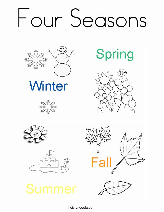 Seasons Worksheets for Preschoolers Elegant Free Printable Four Seasons Coloring Page for Kids
