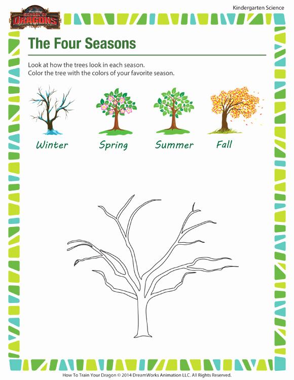 Seasons Worksheets for Preschoolers Elegant the Four Seasons Kindergarten Science Worksheets sod