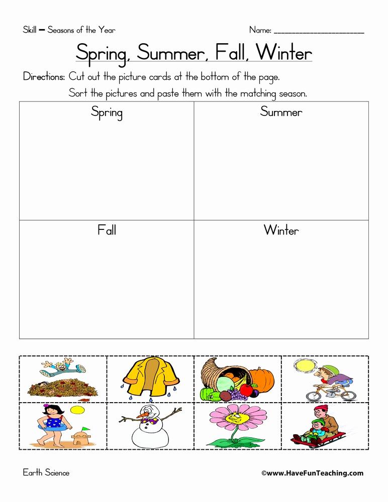 Seasons Worksheets for Preschoolers Inspirational New 276 First Grade Worksheet On Seasons