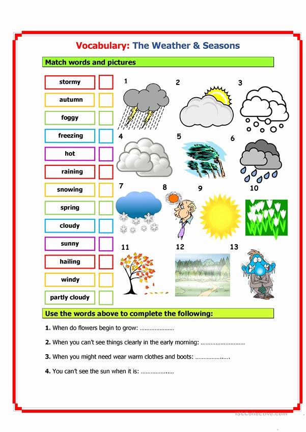 Seasons Worksheets for Preschoolers Inspirational Vocabulary Weather & Seasons Worksheet Free Esl