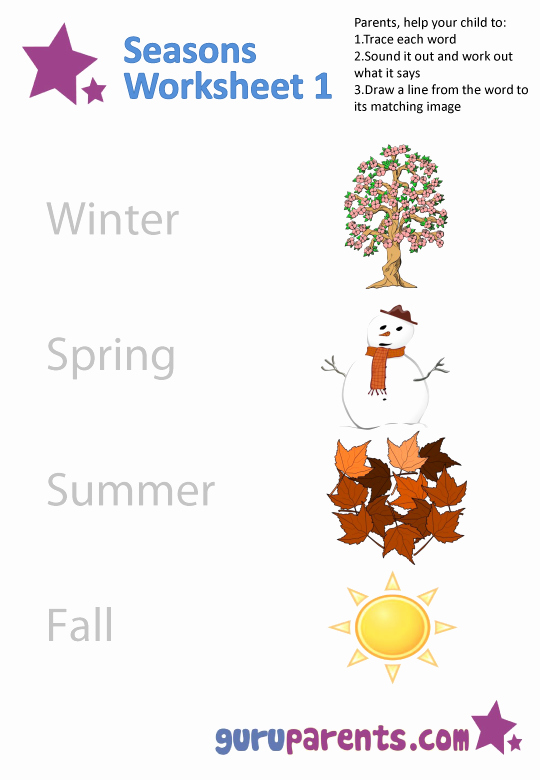 Seasons Worksheets for Preschoolers Lovely Seasons Worksheets