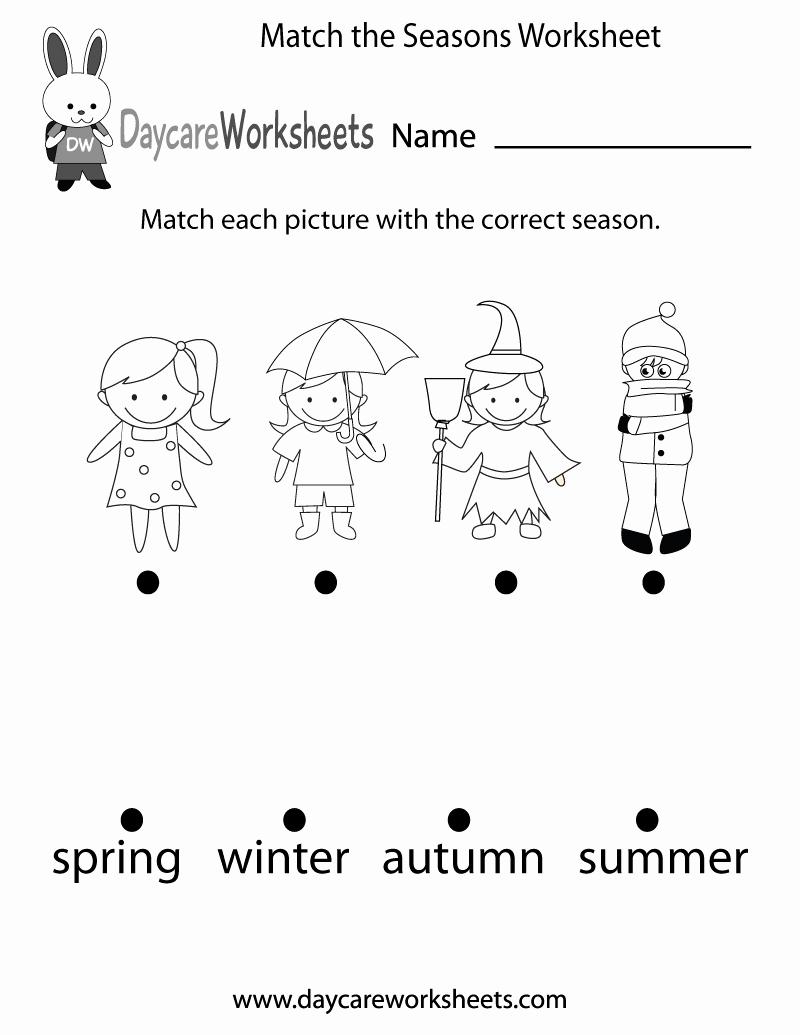 Seasons Worksheets for Preschoolers Luxury Free Preschool Match the Seasons Worksheet