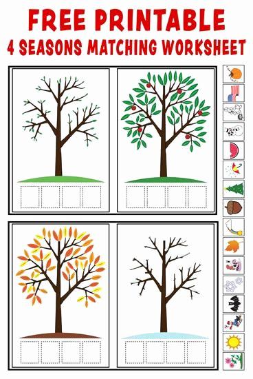 """Seasons Worksheets for Preschoolers Luxury """"season Match Up"""" Free Printable 4 Seasons Matching"""