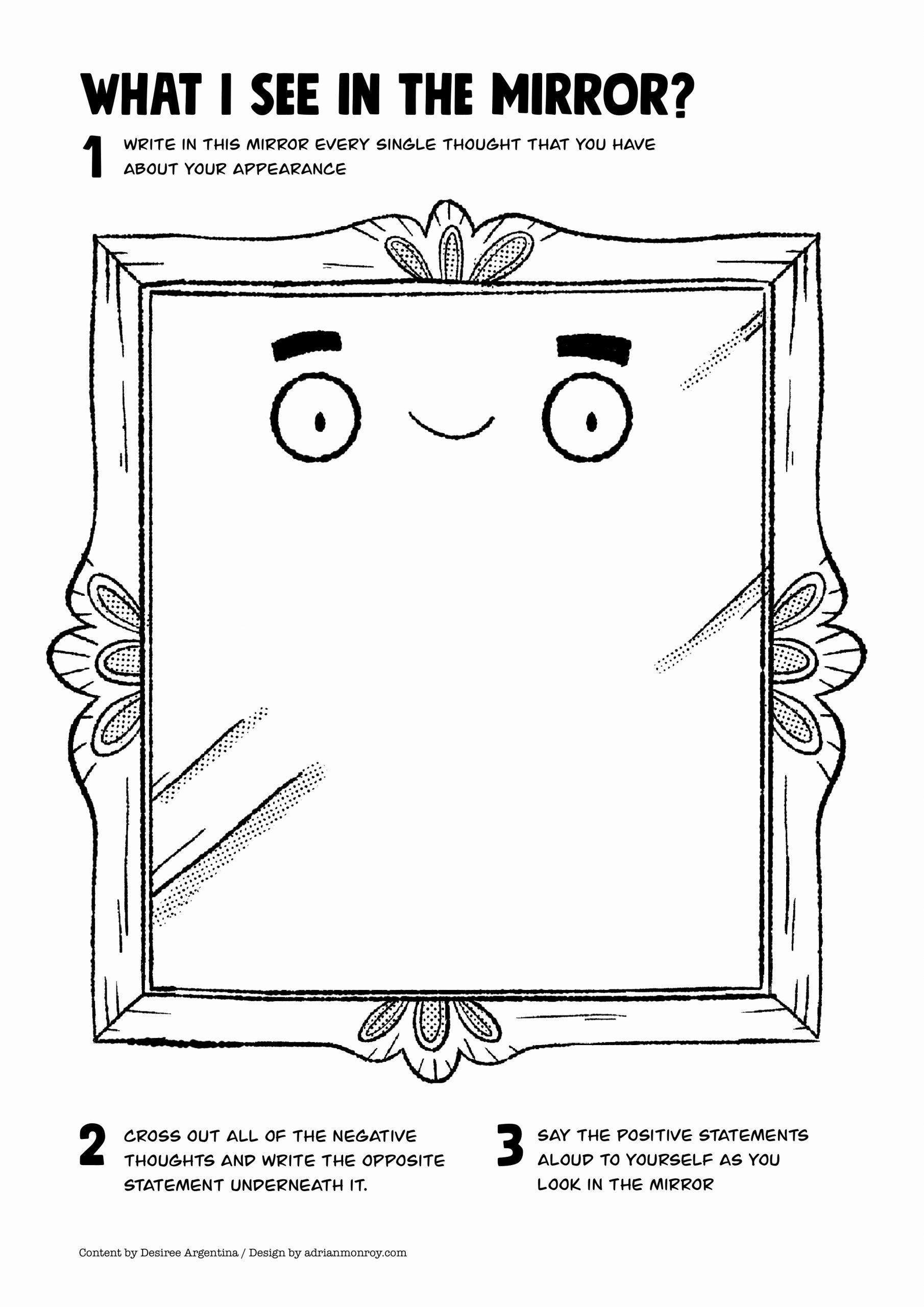 Self Esteem Activities Worksheets Elegant Mirror Self Esteem Worksheet for Kids and Teens