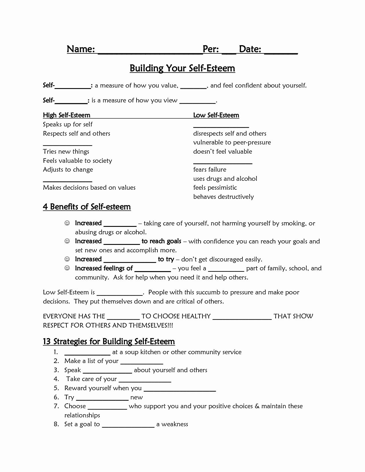 Self Esteem Activities Worksheets Luxury Printable Self Esteem Worksheets for Teenagers